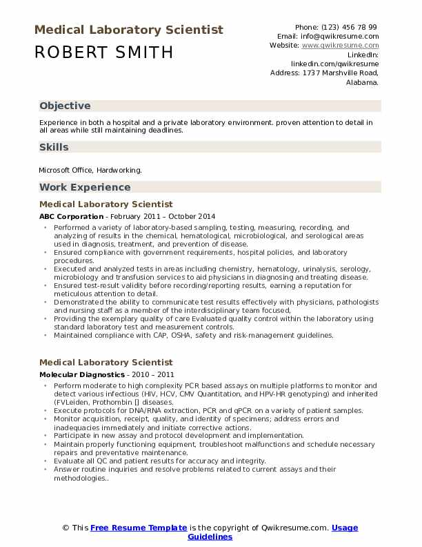 medical laboratory scientist resume samples qwikresume lab pdf waitress server examples Resume Medical Lab Scientist Resume