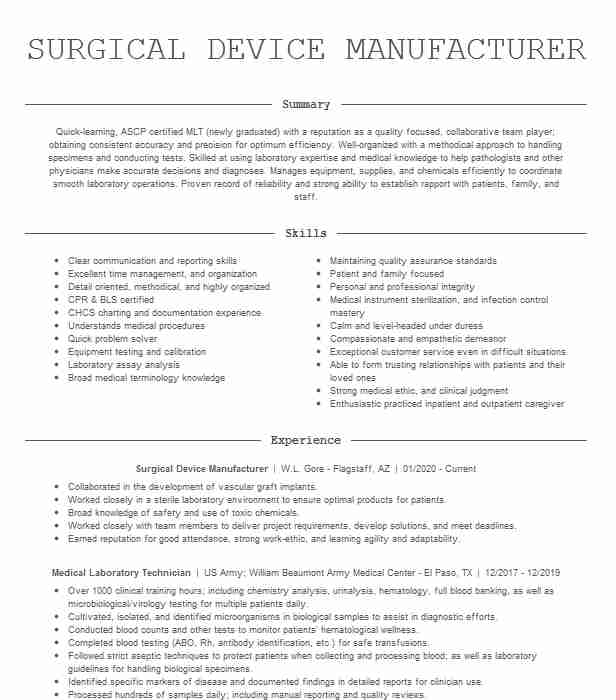 medical laboratory technician mlt resume example capital region center moberly lab Resume Medical Lab Scientist Resume