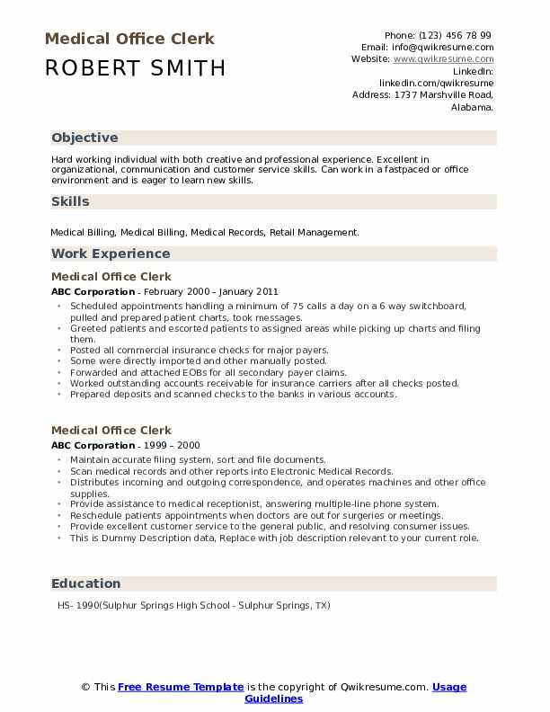 medical office clerk resume samples qwikresume objective for pdf classic template nursing Resume Resume Objective For Office Clerk