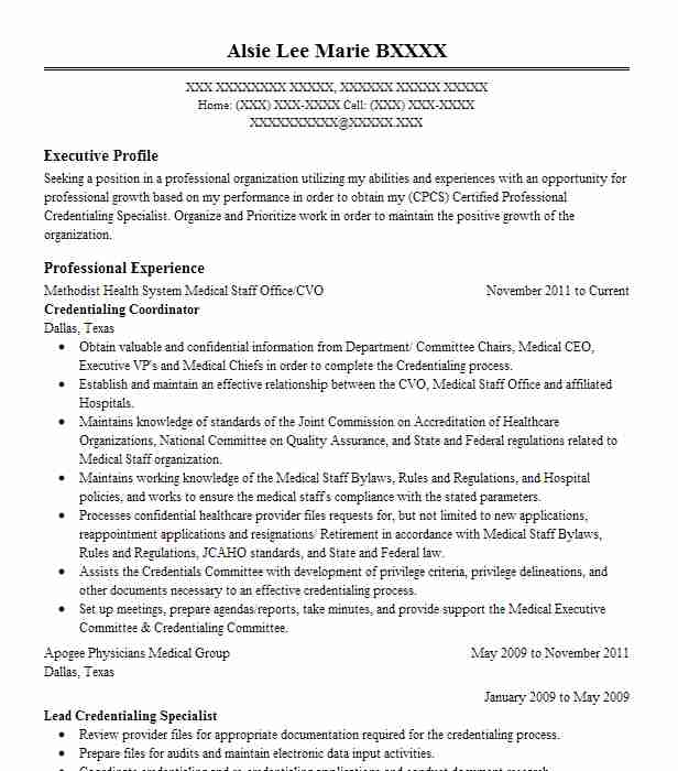 medical staff credentialing coordinator resume example bellflower center lakewood Resume Credentialing Specialist Resume Sample