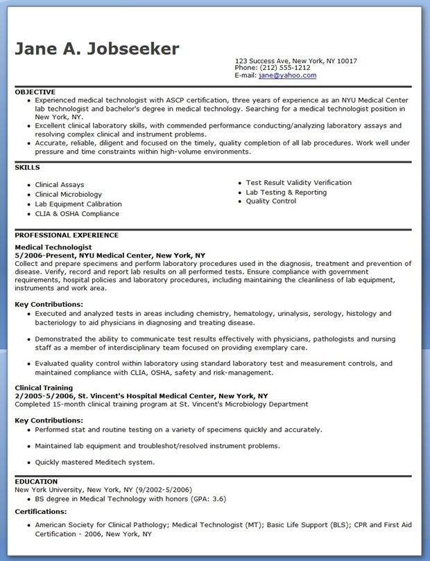 medical technologist resume example downloads assistant marketing examples sample for Resume Sample Resume For Medical Technologist