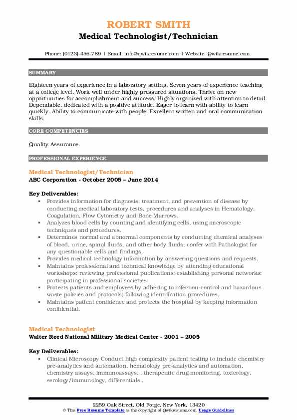medical technologist resume samples qwikresume sample for pdf of professional summary on Resume Sample Resume For Medical Technologist