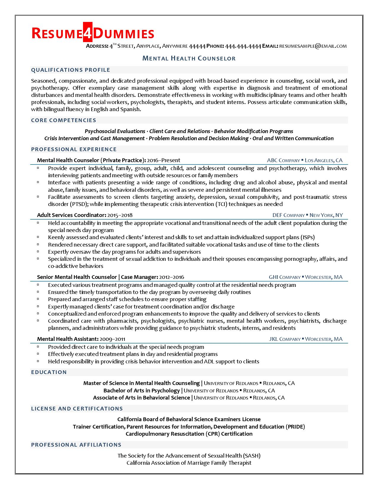 mental health counselor resume example resume4dummies licensed professional fashion Resume Licensed Professional Counselor Resume