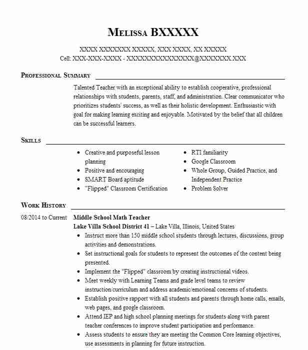 middle school math teacher resume example livecareer sample federal template word Resume Sample Middle School Resume