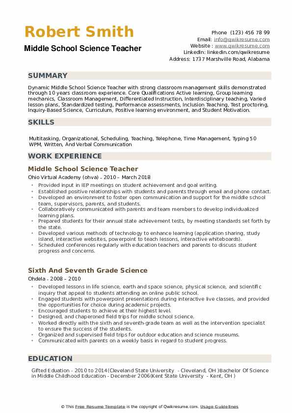 middle school science teacher resume samples qwikresume sample pdf electronic electrician Resume Sample Middle School Resume
