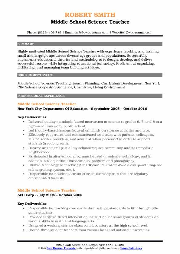 middle school science teacher resume samples qwikresume sample pdf templates for someone Resume Sample Middle School Resume
