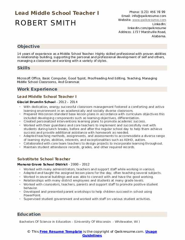 middle school teacher resume samples qwikresume sample pdf maintenance template excellent Resume Sample Middle School Resume