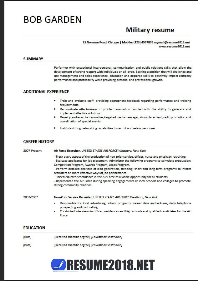 military resume examples example free templates editable dialysis technician with Resume Military Resume Examples 2017