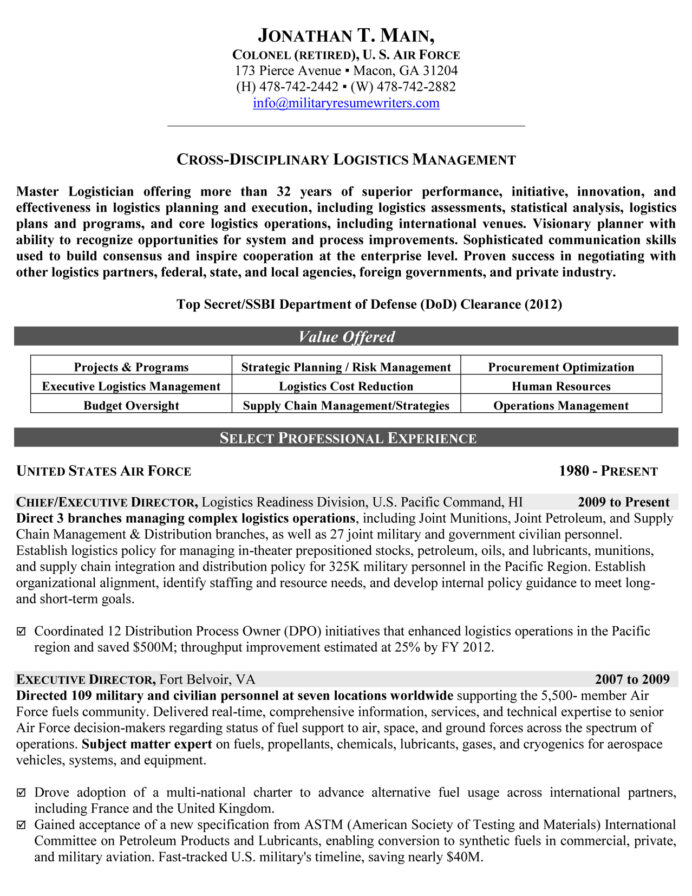 military resume samples examples writers logistician executive for hospital job baron Resume Military Resume Writers