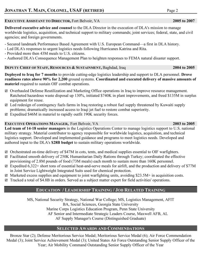 military resume samples examples writers logistician executive sample and cover letter Resume Military Resume Writers