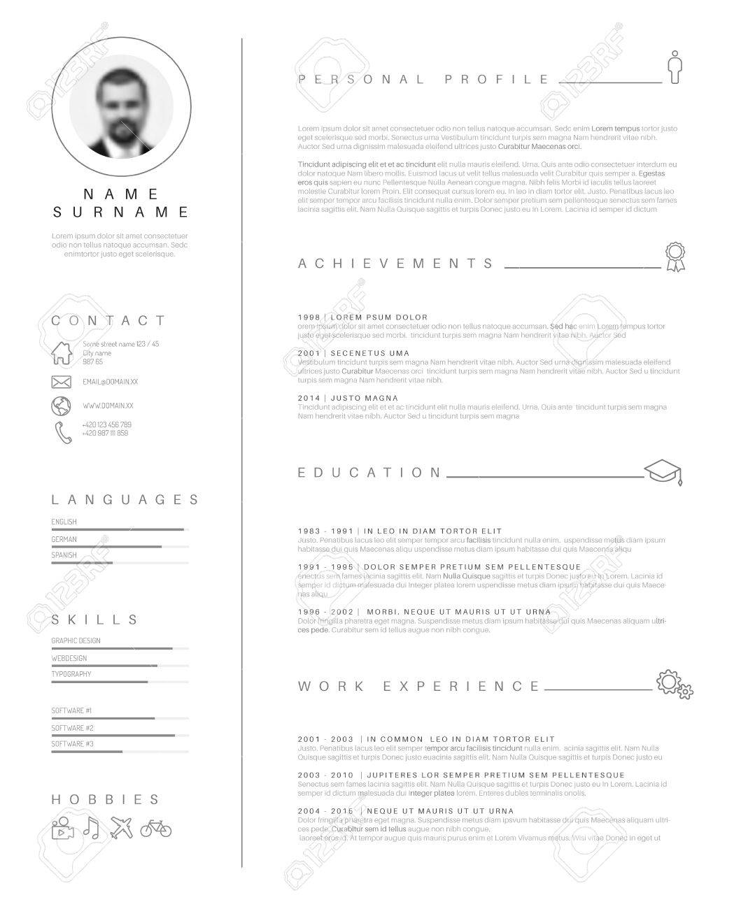 minimalist cv resume template with nice typography design royalty free vectors and stock Resume Typography Resume Template