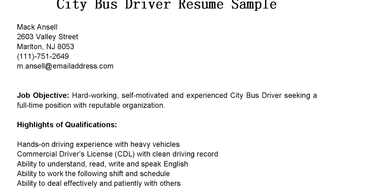 miscellaneous resume examples format for teacher adjunct professor position city bus Resume Resume For Bus Driver Position