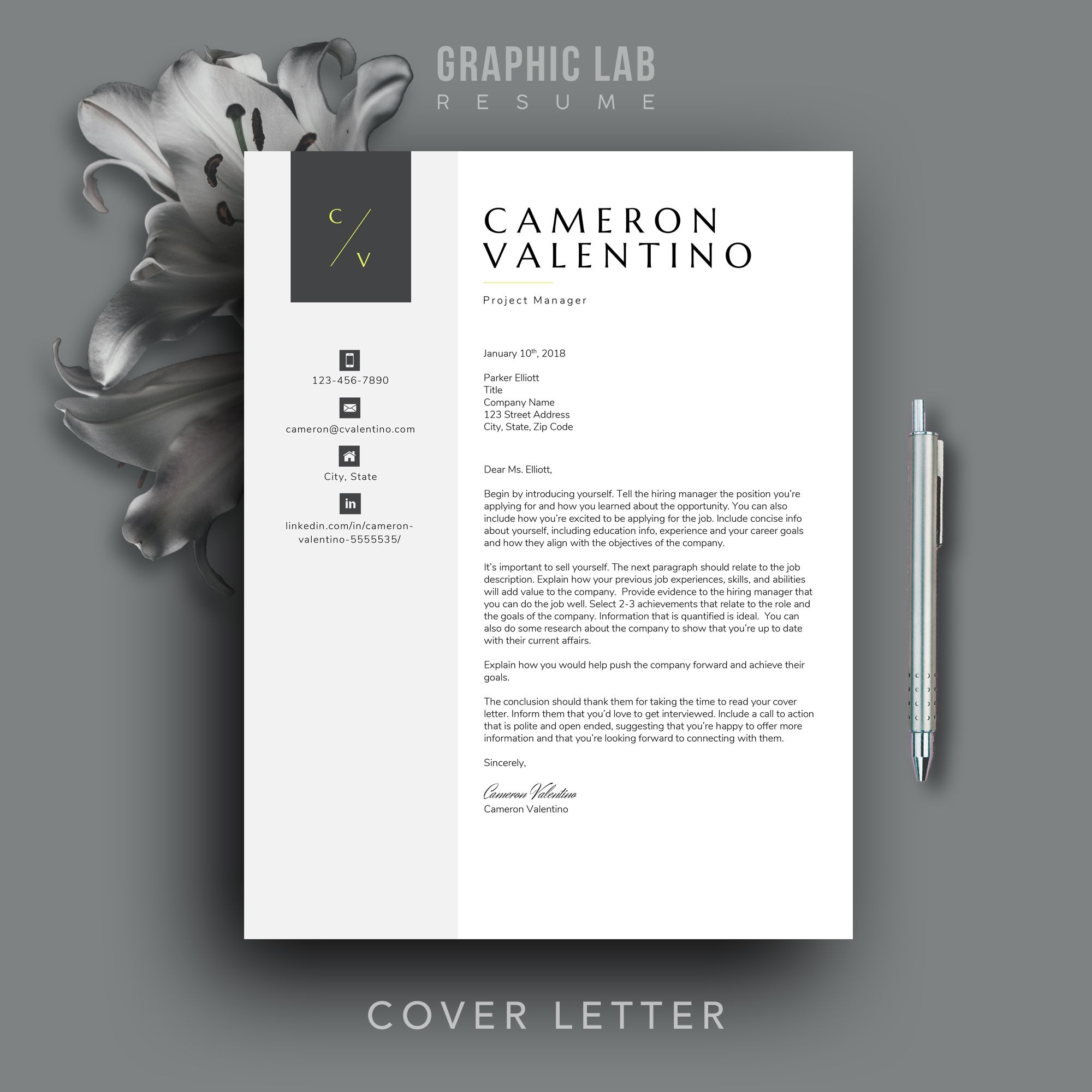 modern resume template cv design word etsy in cover letter contemporary writing services Resume Contemporary Modern Resume Template
