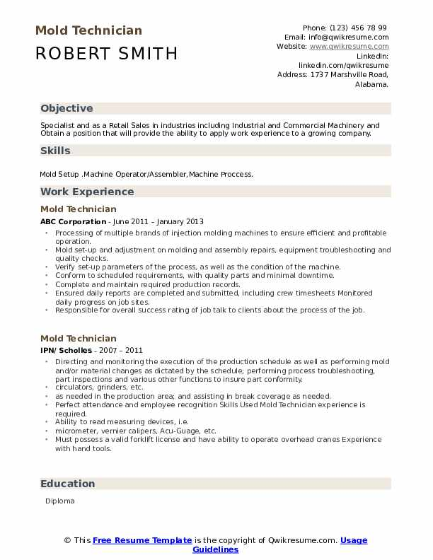 mold technician resume samples qwikresume injection moulding pdf recruiter skills writing Resume Injection Moulding Resume