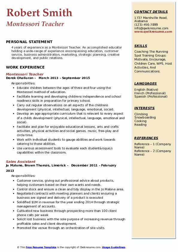 montessori teacher resume samples qwikresume objective pdf transmission lineman skills Resume Montessori Teacher Resume Objective