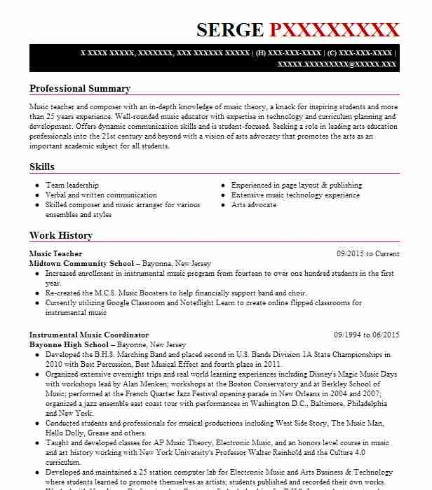 music teacher resume example brookwood health services inc gardendale education examples Resume Music Education Resume Examples