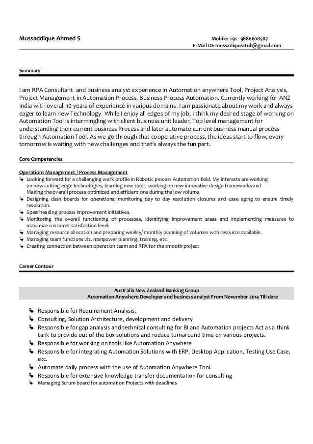 mussadique resume robotic process automation worded review judy engineering technologist Resume Robotic Process Automation Resume