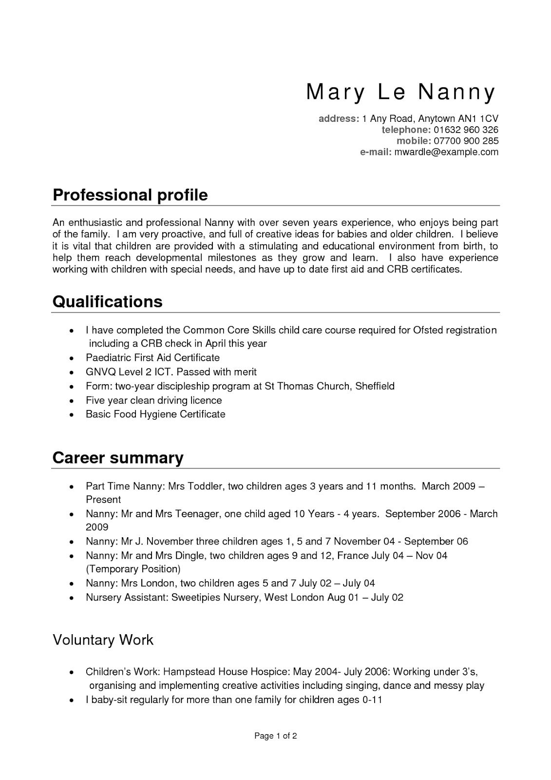 nanny resume templates free template re profile examples duties for public policy sample Resume Nanny Duties For Resume
