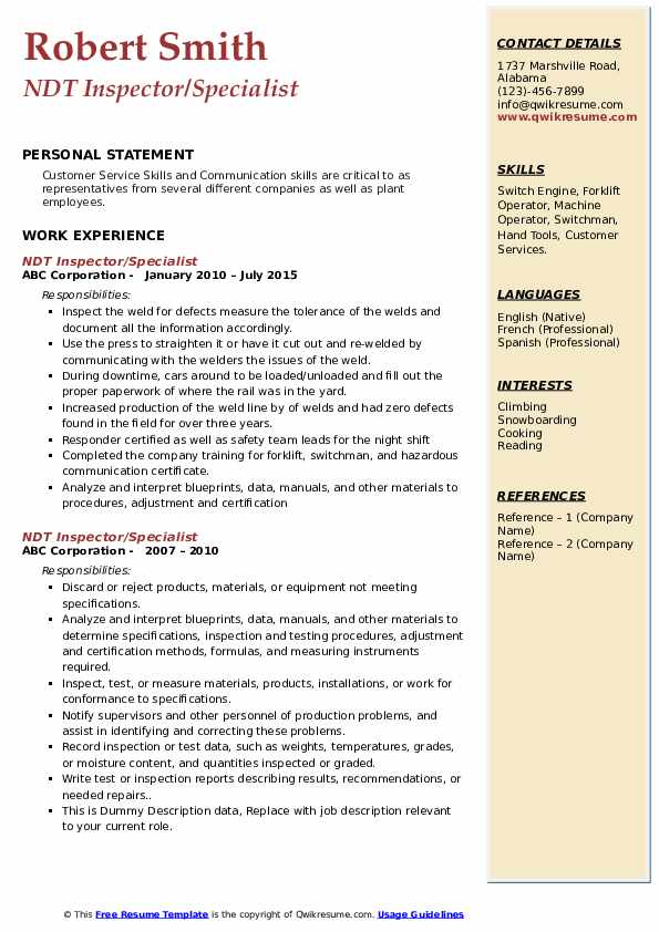 ndt inspector resume samples qwikresume sample pdf subject line for first year college Resume Ndt Inspector Resume Sample