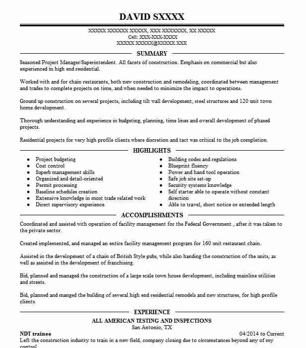 ndt trainee resume example resumes livecareer inspector sample fulfillment specialist Resume Ndt Inspector Resume Sample