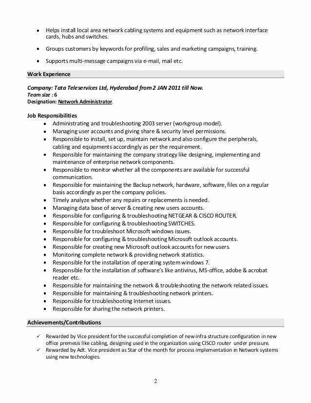 network administrator resume sample elegant systems admin summary june simple examples Resume System Admin Resume Format