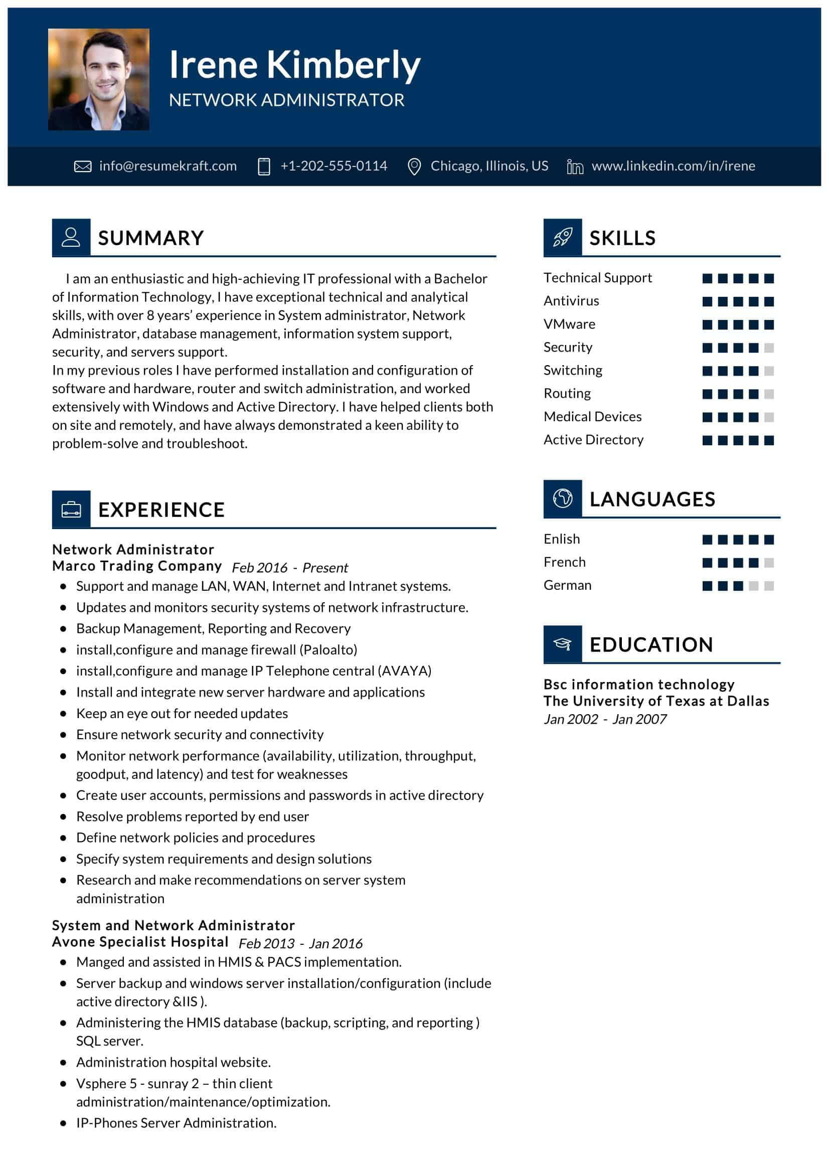 network administrator resume sample resumekraft system entry level job examples contoh Resume System Administrator Resume Sample