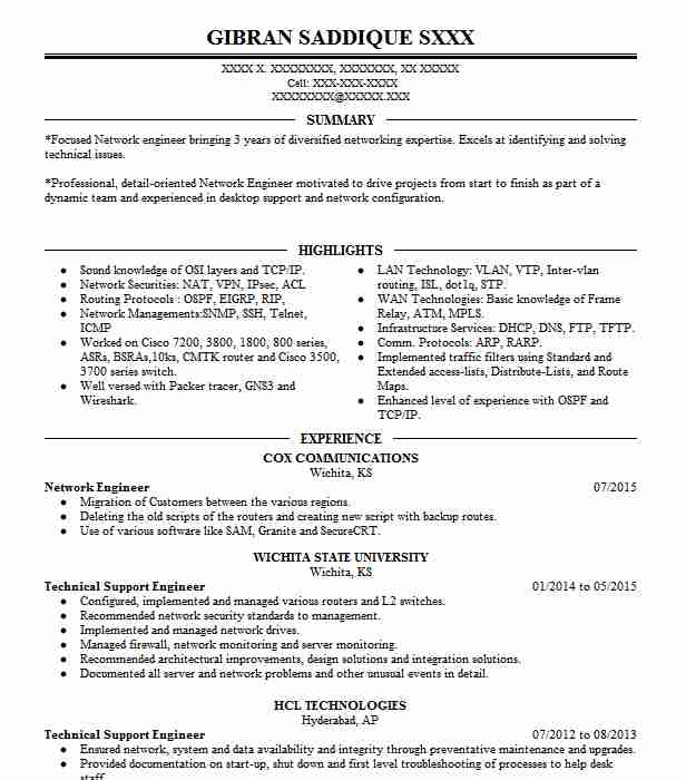 network engineer resume example technical resumes livecareer ccna sample creative writer Resume Ccna Network Engineer Resume Sample