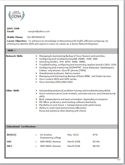 network engineer resume format ccna routing and switching for freshers writing tips Resume Ccna Routing And Switching Resume For Freshers