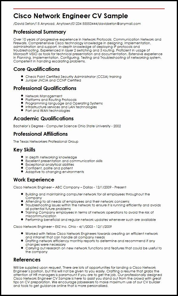 network engineer resume sample awesome cisco cv example myperfectcv in job samples Resume Checkpoint Firewall Engineer Resume