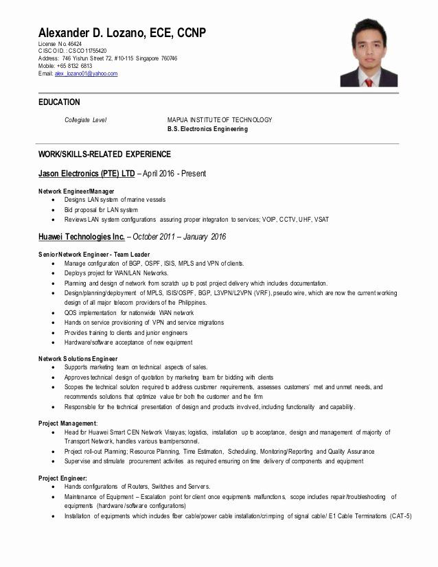 network engineer resume sample beautiful ccnp cv job samples project manager ccna for Resume Ccna Sample Resume For Experience