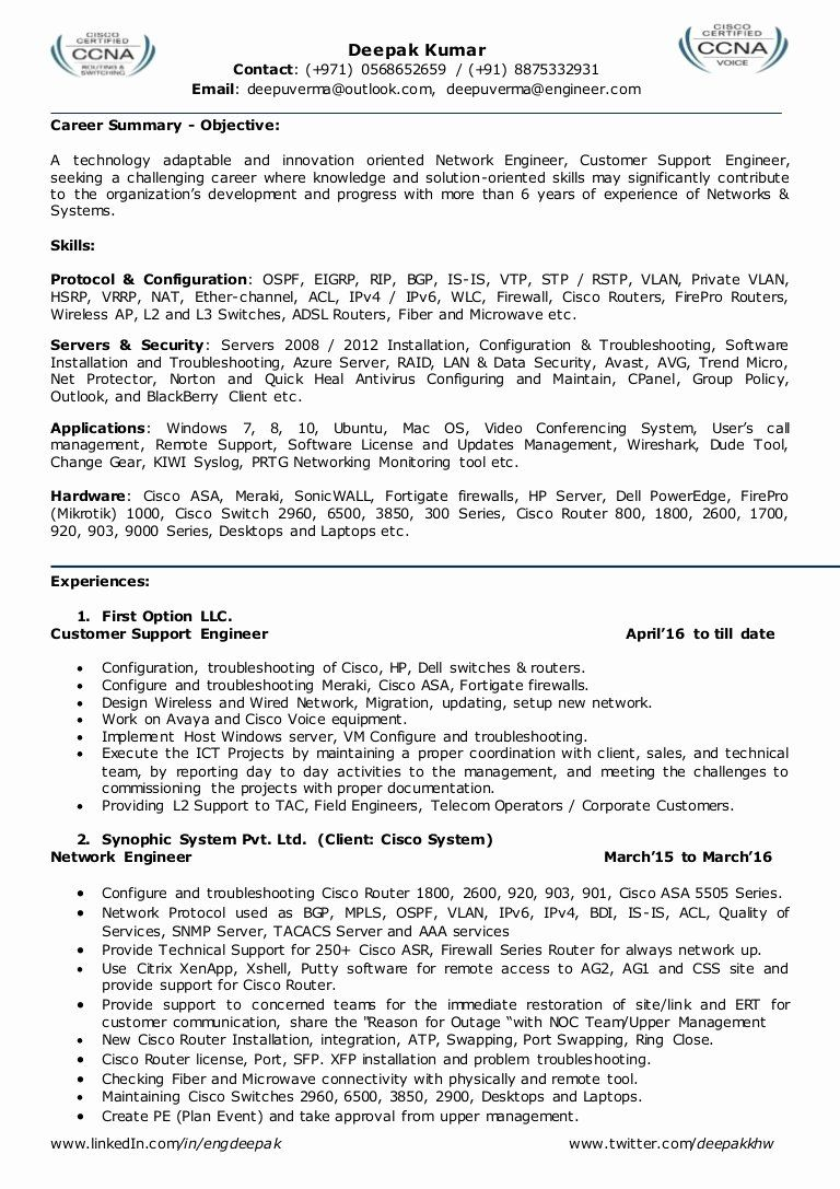 network engineer resume sample lovely for l2 admin team leader job examples template ccna Resume Ccna Routing And Switching Resume For Freshers