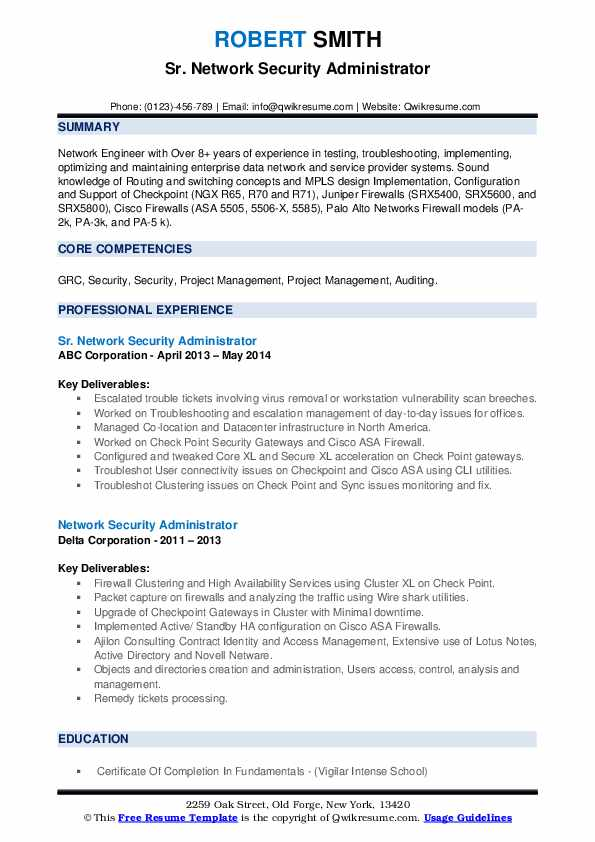 network security administrator resume samples qwikresume firewall experience pdf Resume Firewall Experience Resume