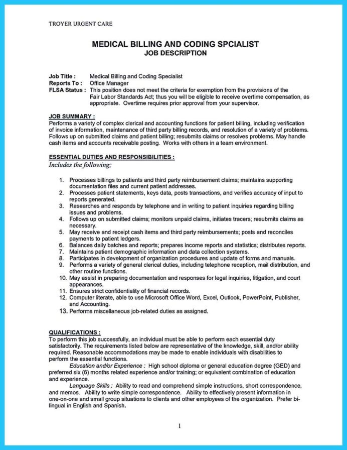 nice exciting billing specialist resume that brings the job to you medical coder and Resume Billing Specialist Resume Sample