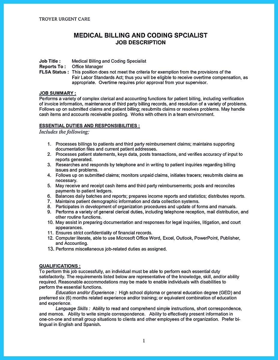 nice exciting billing specialist resume that brings the job to you medical coder and Resume Cash Office Job Description Resume