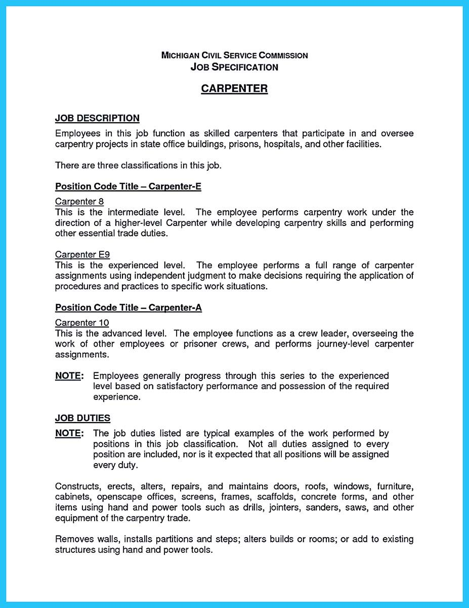 nice tips you wish knew to make the best carpenter resume check more at http snefci org Resume Concrete Carpenter Resume