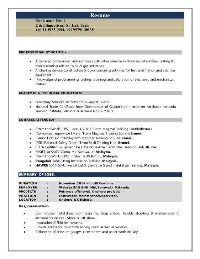 nitinkumar cv instrument supervisor electrical and instrumentation resume accountant Resume Electrical And Instrumentation Supervisor Resume