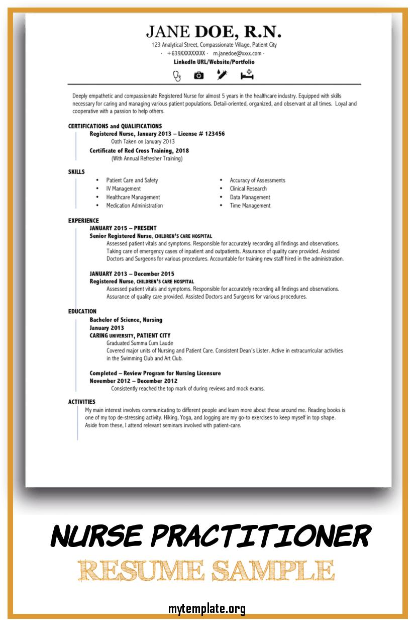 nurse practitioner resume sample free templates for new of pin good profile description Resume Sample Resume For New Nurse Practitioner