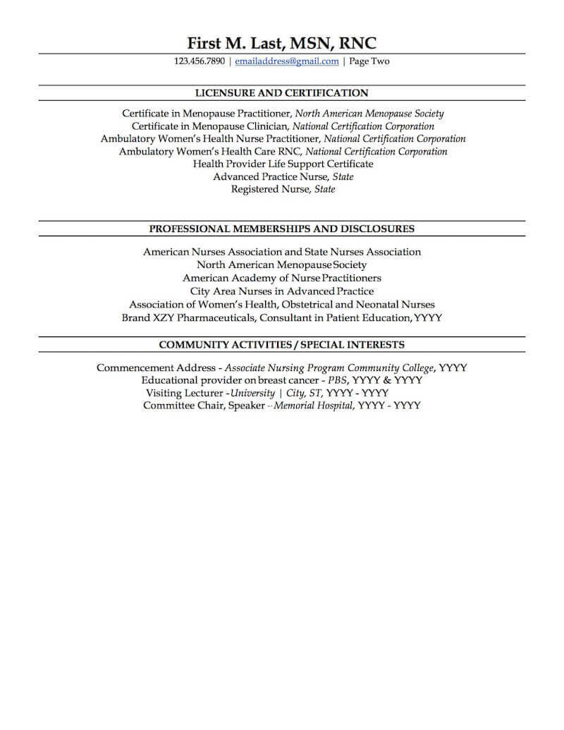 nurse practitioner resume sample professional examples topresume student page2 physician Resume Nurse Practitioner Student Resume