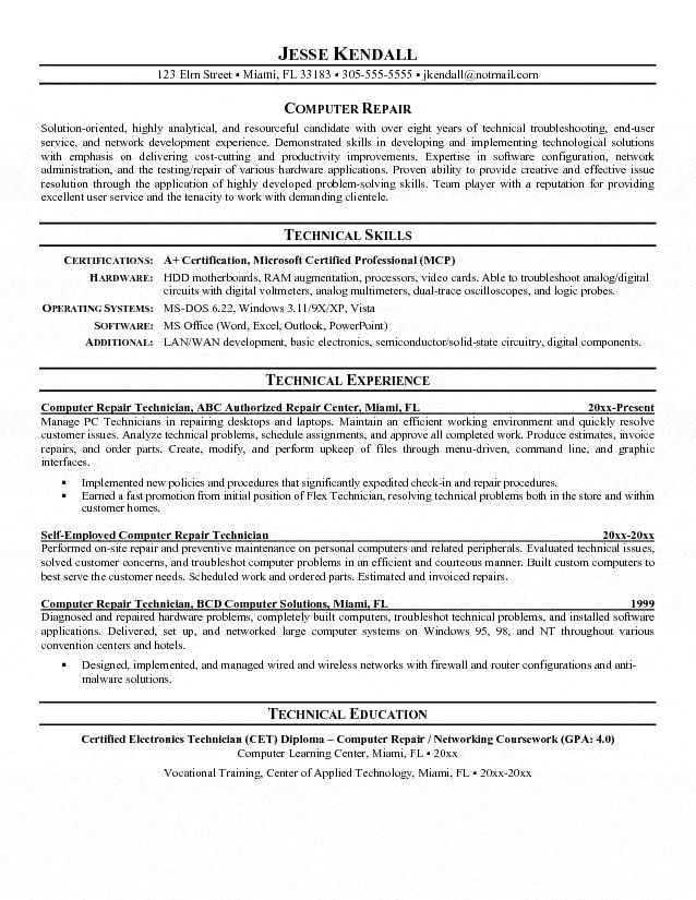 of the best ideas for computer technician resume job samples cover letter skills service Resume Computer Service Technician Resume