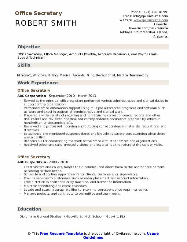 office secretary resume samples qwikresume examples pdf targeted listing publications on Resume Secretary Resume Examples