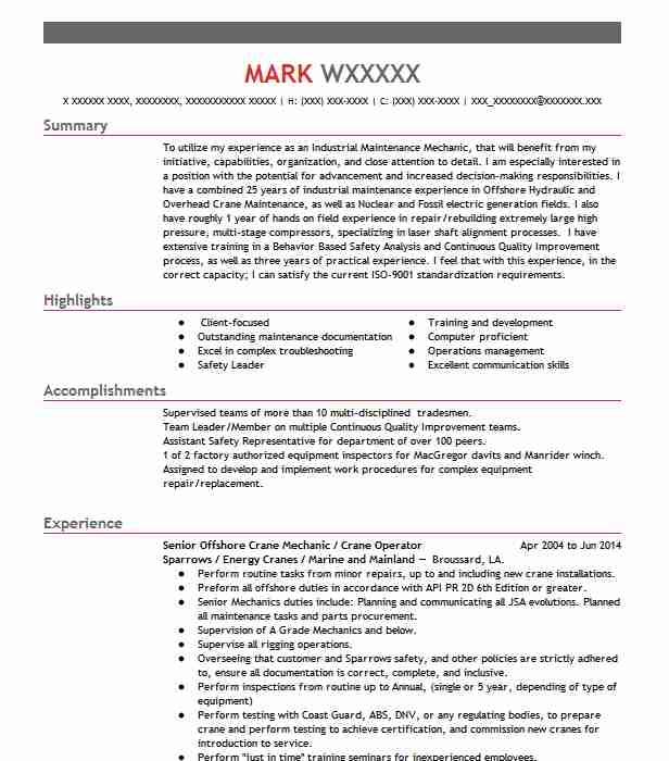 offshore operator resume example companies plc waveland experience home care headline for Resume Offshore Experience Resume