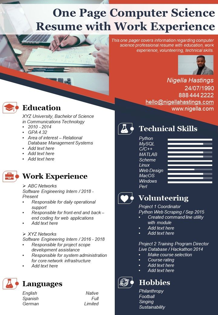 one computer science resume with work experience presentation report infographic pdf Resume Computer Graphics Resume