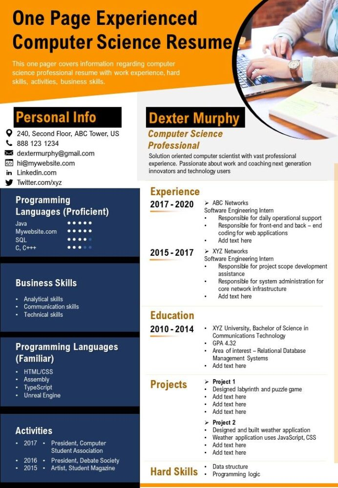 one experienced computer science resume presentation report infographic pdf document Resume Computer Graphics Resume