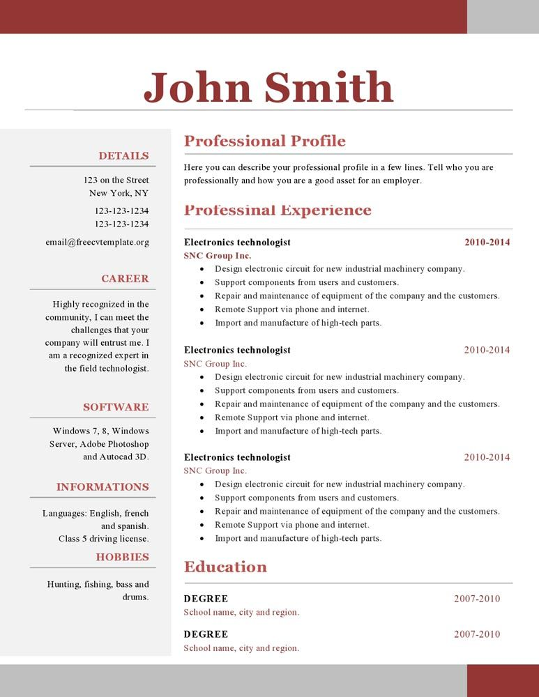 one resume template free word can you create on google docs customer service bullet Resume One Page Resume Template Word Free