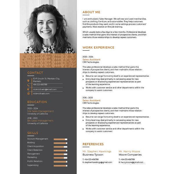 one resume template free word excel pdf format premium templates template1 college Resume One Page Resume Template Word Free