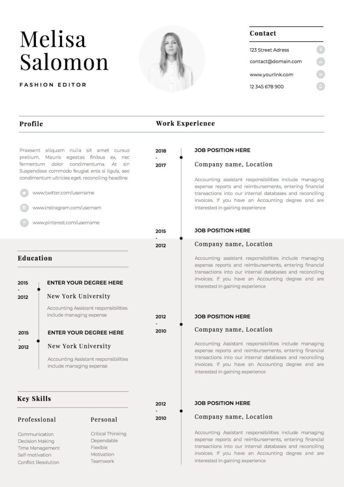one resume template with photo for word cv singe professiona simple free outlines Resume One Page Resume Template Word Free