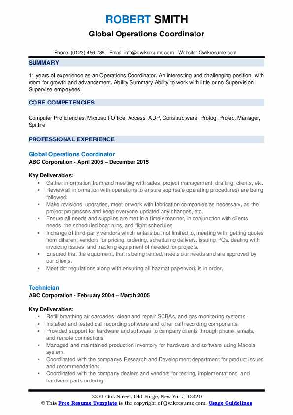 operations coordinator resume samples qwikresume pdf chief development officer action Resume Operations Coordinator Resume