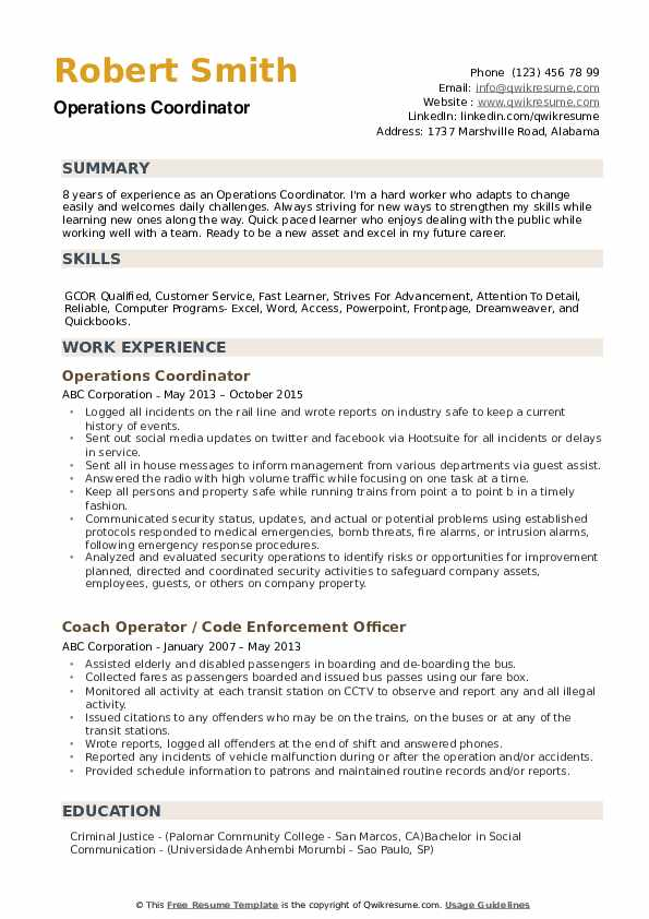 operations coordinator resume samples qwikresume pdf junk removal examples for technical Resume Operations Coordinator Resume
