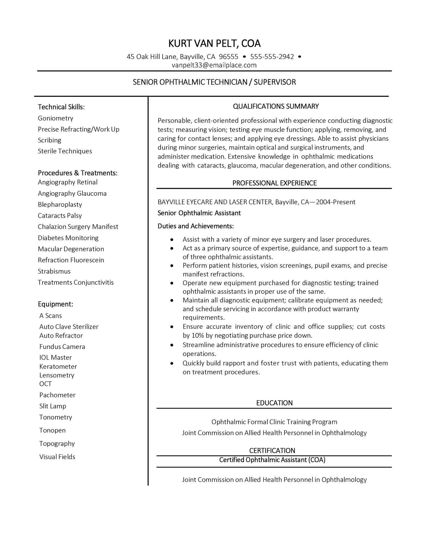 ophthalmic assistant resume certified medical technician sample florist examples free Resume Certified Ophthalmic Assistant Resume