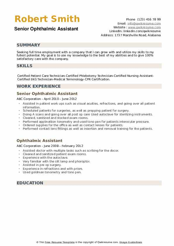 ophthalmic assistant resume samples qwikresume certified pdf good career objective Resume Certified Ophthalmic Assistant Resume